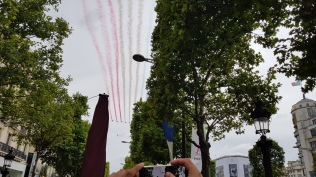 PAF fly over the Champs Elysees