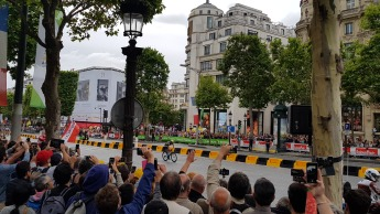 Sylvan Chavenel leads the Tour up the Champs Elysees